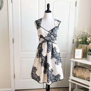 Jessica Simpson Demask Print Tie Back Dress